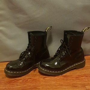 Dr Martens black patent air Walker boots